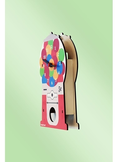 Peoples Clock Sakız Makinesi Sallanan Sarkaçlı Çocuk Odası Duvar Saati Renkli